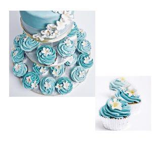 Blue Frangipani Wedding cupcake