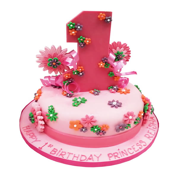 Outstanding Floral First Birthday Cake Personalised Birthday Cards Veneteletsinfo