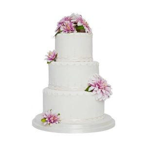 Flower & Pearl Drape Wedding Cake