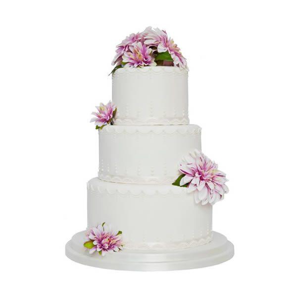 Flower & Pearl Drape Wedding Cake