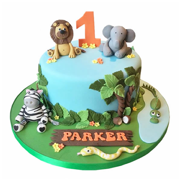 Forest Animal Birthday Cake