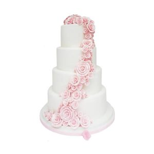 Rose Shower Wedding Cake