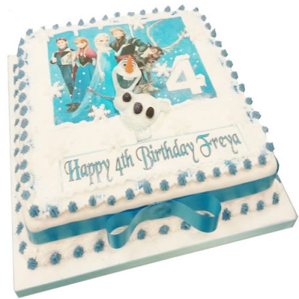 Square Frozen Birthday Cake Or Other Cartoon