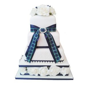 Tartan Rose Wedding Cake