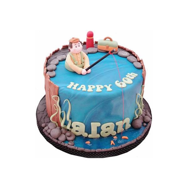 Groovy Fishing Birthday Cake Funny Birthday Cards Online Alyptdamsfinfo