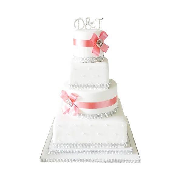 Coral Diamante Wedding Cake