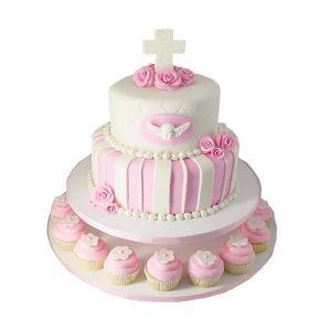 2 Tier Communion Cake with Cupcakes