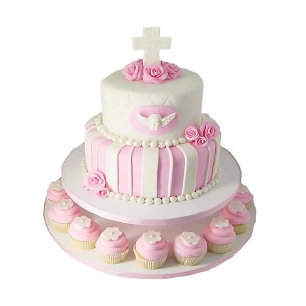 2 Tier Communion Cake with Cupcakes
