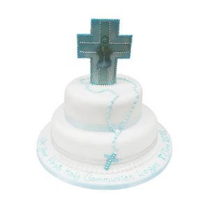 2 Tier Communion Cross Cake
